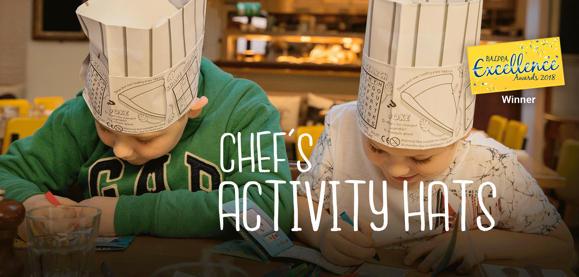 Chef's colouring in activity hats for restaurants